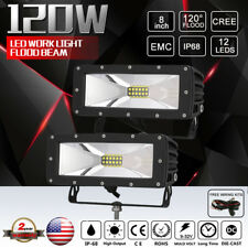 FLOOD BEAM 8INCH 120W Cree LED Work Light Boat Truck ATV Driving Light Bar Black