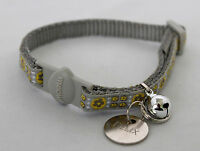 cat collar Grey  with Engraved Dog Pet Name Id Tag Cat collar 20mm Name tag
