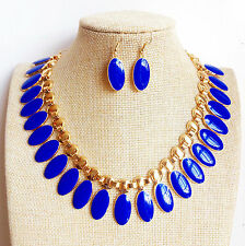 Fashion Gold Plated Geometric Royal Blue oval Shape Enamel Necklace Earrings Set