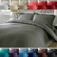 Hotel Quality Luxury Satin Stripe Duvet Cover Single Double King Size Bedding