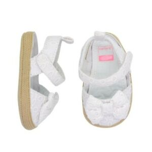 Carter's 6-9 Months White Eyelet Espadrille Crib Shoes Infant Baby Girl Size 3