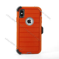 Defender Pro iPhone XS Max Shockproof Hard Case w/Holster Belt Clip - Red / Gray