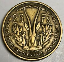 # C525     FRENCH  WEST  AFRICA    COIN,     25  FRANCAS    1956