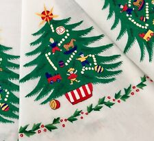 Vintage Round Hand Embroidered Christmas Tree Cotton Tablecloth