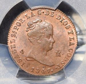 Spain 1847 4 Maravedis Lion animal PCGS MS64RB KM-530.2 Jubia rare this grade PC