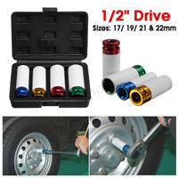 Alloy Wheel Nut DEEP Thin Wall Impact Socket Set 1/2'' Drive 17mm 19mm 21mm 22mm
