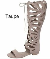 New Women FC11 Tan Beige Black Butterfly Cutout Gladiator Knee High Sandals