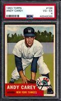 1953 TOPPS #188 ANDY CAREY ROOKIE NEW YORK YANKEES - PSA VG-EX 4 - VERY NICE