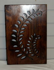 Indian wood carved wall plaque (C) decoration Mangowood Fern design handmade