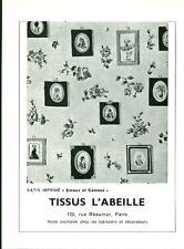Publicité ancienne tissu l'abeille Paris Réaumur 1959 issue de magazine