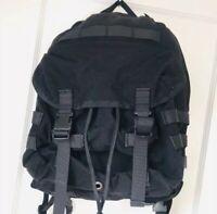 Large Unbranded Black Canvas Utility Flap Backpack