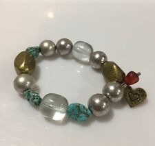 Heart Stretch Bracelet Turquoise Stone Beads