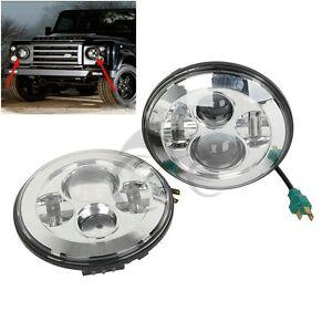 """2X 7"""" 40W H4/13 Round LED Headlight For Jeep Wrangler JK CJ TJ 1997-2015 12 13"""