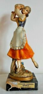 Fontanini Depose Italy, Girl Holding Tambourine Figure 906, Carrara Marble Base