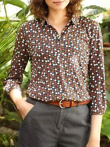 EX SEASALT Brown Primrose Ditsy Acorn Day Mark Shirt Sizes 8-28