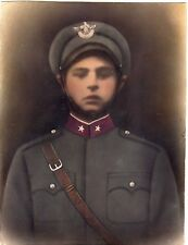Large Hand-colored photography of a soldier. Russian? Photography WWII military
