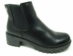 LADIES WOMENS BLACK CHELSEA  ANKLE BOOTS CHUNKY HEEL INSIDE ZIP NEW SIZE 3 - 8
