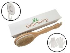 Dry Brushing Body Brush SET with Boar Bristles - Cellulite Reduction, Lymphatic