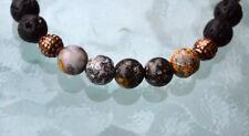 Black Basalt Lava Stone beads Blue Ocean Jasper Wrist Mala Beads Bracelet