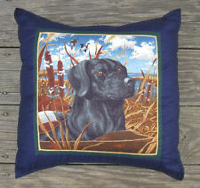 HAND CRAFTED PILLOW BLACK LABRADOR DOG at BEACH 15 x 15 REMOVABLE COVER TO WASH