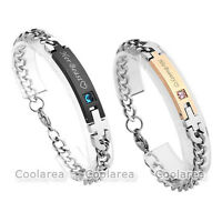 Unisex Beauty And Beast Lovers Cubic Zirconia Stainless Steel Curb Bracelet