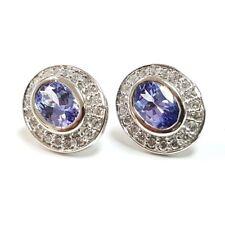2.00 Ct Tanzanite & Diamond Halo Earrings in 18k White Gold UK Hallmarked