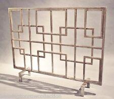 "Fireplace Screens - ""Oak Park"" Decorative Fire Screen - Geometric Squares"