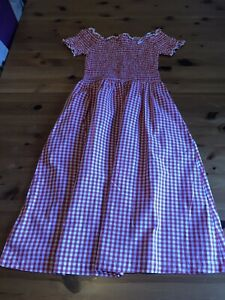 Warehouse Size 8 Red White Gingham Shirred Stretch Dress Off Shoulder A Line