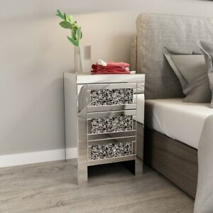 Mirrored Glass Crystal 3 Drawer Bedside Cabinet Side Table Diamond Cabinet