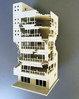 N Scale 1:144 White Damaged Ruined Building after War GUNDAM Scene 6.7*6.9*15cm