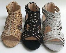NEW Kids Girls LINK Bella53K Silver Black Gold Glitter Gladiator Sandals Shoes