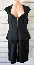 Montique Dress Pencil Peplum Shift Size 14 Large Black Sleeveless Lace Back