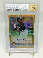 2018 Bowman Chrome Draft MLB Autograph Gold Wave Osiris Johnson /50 BGS 9 MINT