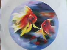Lindo Pez De Oro Funky Grande Pintura al Óleo Lienzo Arte Moderno Contemporáneo Original