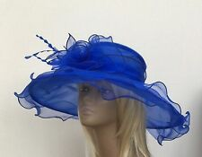 New Large Royal Blue Organza Wedding Hat Mother Of The Bride/Groom Races Ascot