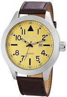 XXL Herrenuhr Beige Braun Silber Analog Leder Datum Armbanduhr D-60412119172795