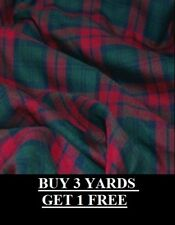 Genuine Lindsay Red Green Blue Tartan Plaid Woven Poly-viscose Dress Fabric