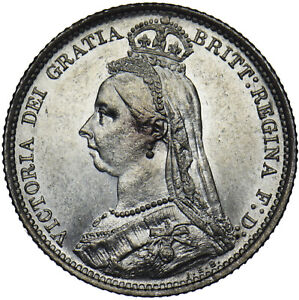 1888 SIXPENCE - VICTORIA BRITISH SILVER COIN - SUPERB