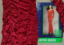 HALLOWEEN COSTUME COFFIN QUEEN GLAMOUS MODEL RED VELVET SMALL 6-10 FITTED SHARP