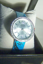 GOLDEN CLASSIC LADIES SECOND SKIN WATCH-VIBRANT BLUE SNAKESKIN PATTERNED STRAP