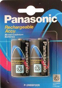 N.2 Batterie Type C ni-Cd 1.25V 1200mAh Panasonic P-2RE Modélisme
