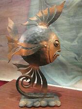 ancienne sculpture en fer forgé martelé epoque 1940 poisson art deco