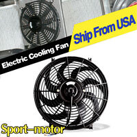 14inch Curved Blade Push Pull Electric Radiator Cooling Slim Fan 2550cfm Truck