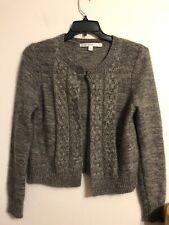 Euc Max Studio Angora Rabbit Hair Open Cardigan Sweater Gray Size L