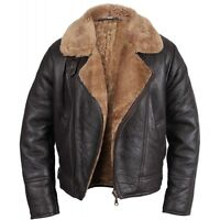 Men Winter Aviator RAF B3 Real Shearling Sheepskin Leather Bomber Flying Jacket