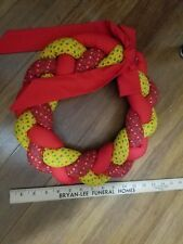 """Holiday braided fabric wreath handmade with bow red/yellow vintage retro 12"""""""