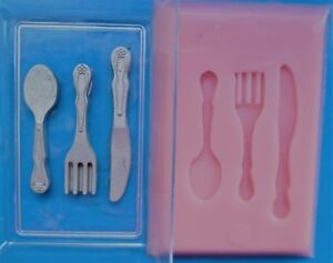 MINIATURE CUTLERY SILICONE MOULD FOR CAKE TOPPERS, CHOCOLATE