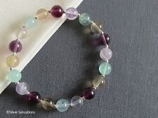 Yellow Purple Green Rainbow Fluorite Gemstones & Sterling Silver Beaded Bracelet