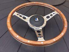 Triumph Herald Wood rim Steering Wheel 13 Inch Semi Dish Inc Polished Alloy Boss