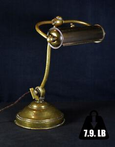 Rare original 1920s utilitarian art deco heavy aged brass bankers captains lamp